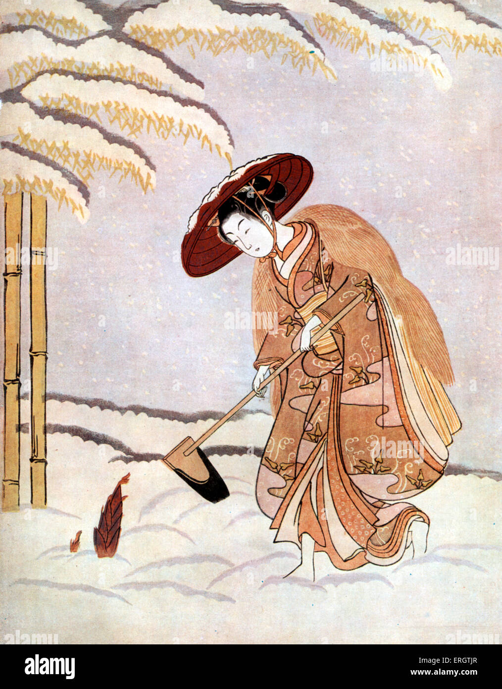 Young Japanese woman in kimono with straw hat - discovering a bamboo sprout beneath the snow. Print by Suzuki Harunobu, - Stock Image