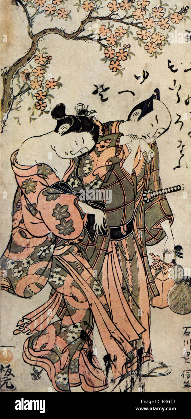 Japanese man and woman dressed in kimonos. - Print by Ishikava (or Ishikawa) Toyonobu, Japanese printmaker. Theatre - Stock Image