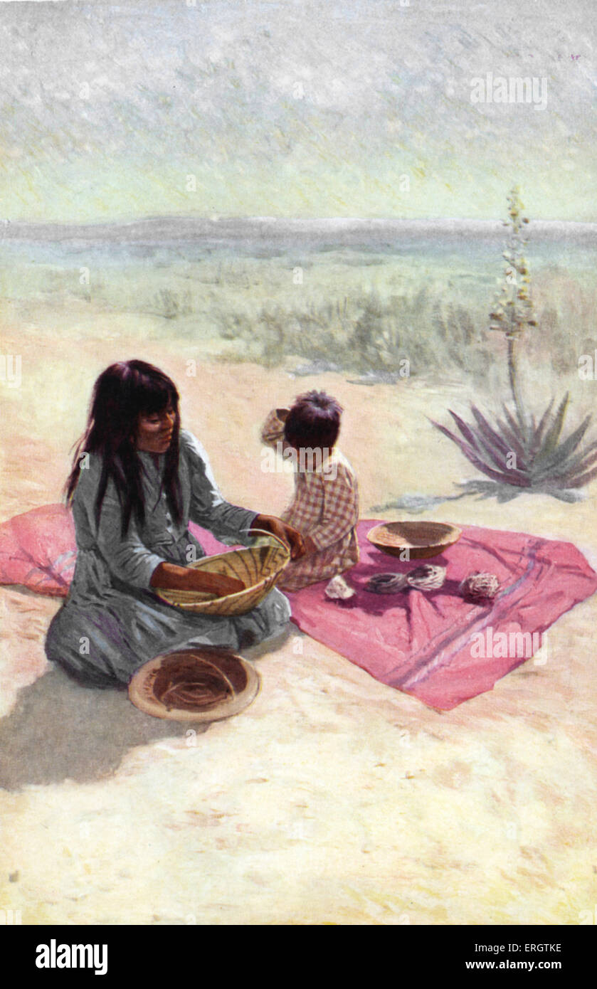 Native American woman from the Pima tribe, Arizona, weaving a basket from fibre of the yucca. By her side: young Stock Photo