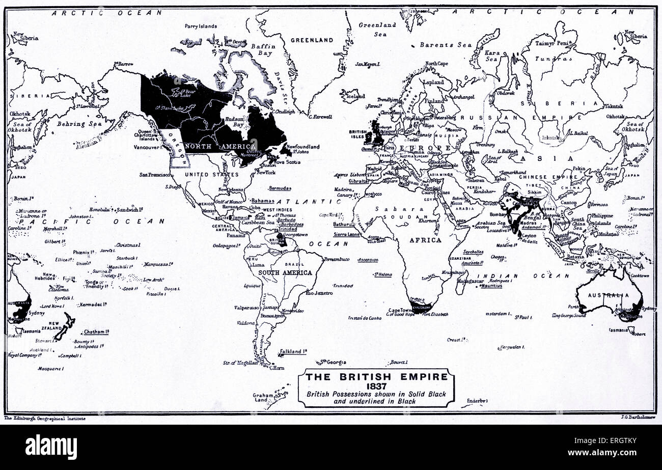 The British Empire in 1837. Map of the world with British possessions shown in black and underlined in black. - Stock Image