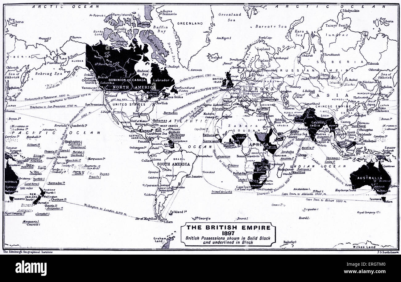 The British Empire in 1897. Map of the world with British possessions shown in black and underlined in black. - Stock Image