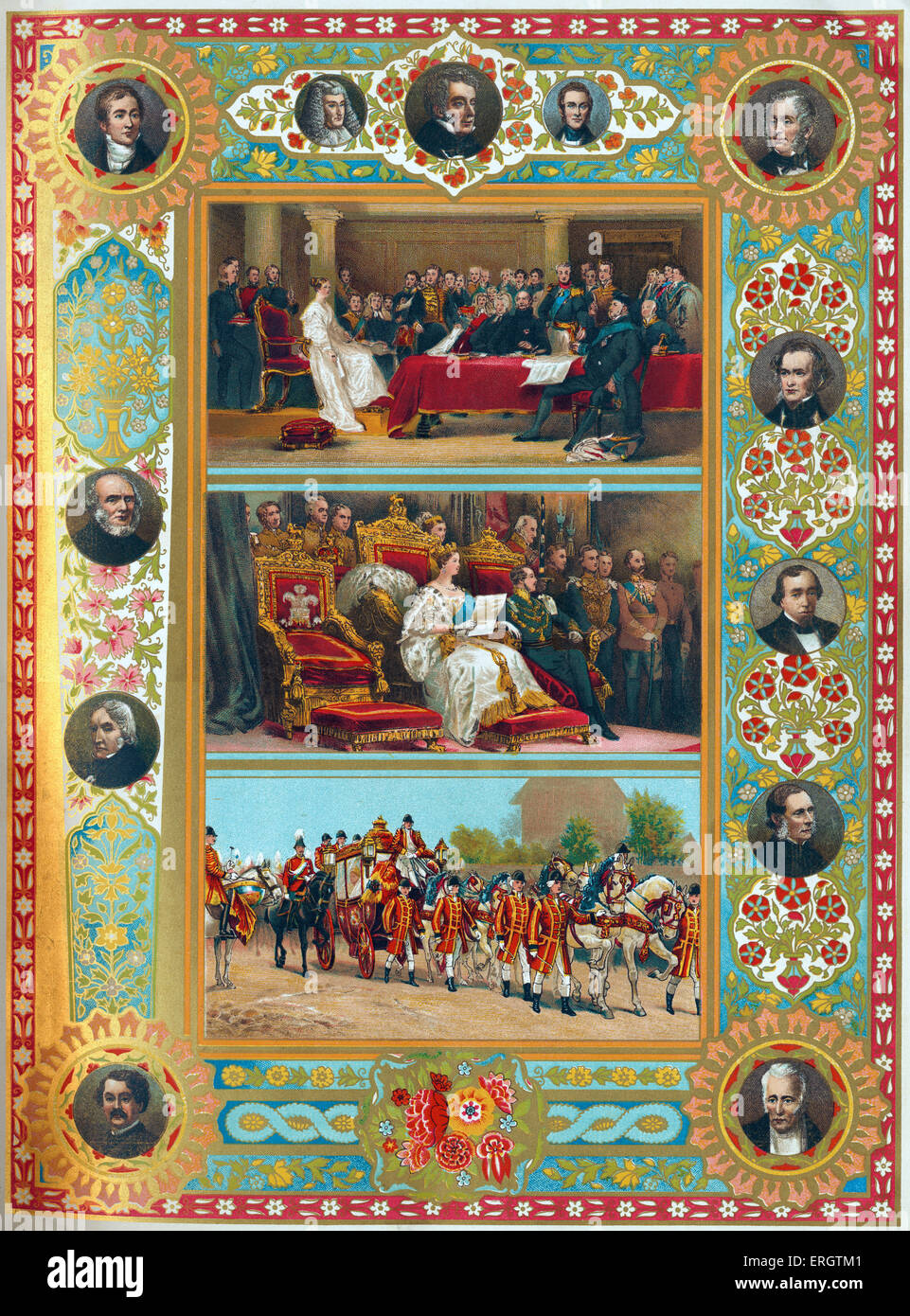 Queen Victoria of England - portraits of Her Majesty at her first council, at her first parliament opening and in - Stock Image