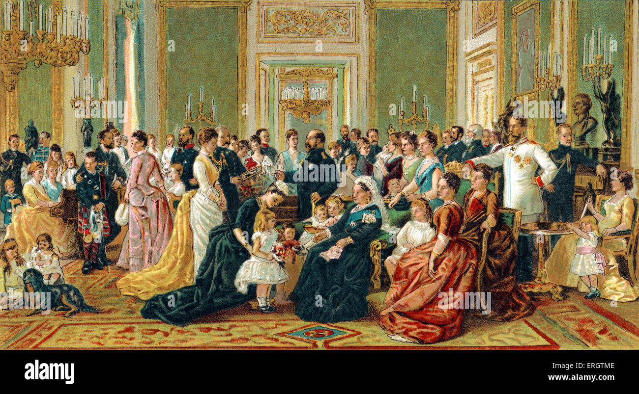 Queen Victoria of England - family portrait at Windsor Castle. 24 May 1819 – 22 January 1901. Stock Photo