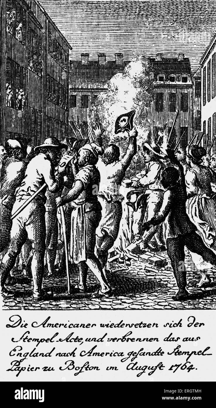 Americans rebelling against the 'Stamp Act' - Engraving by D. Berger after painting by Daniel Chodowiecki,. - Stock Image