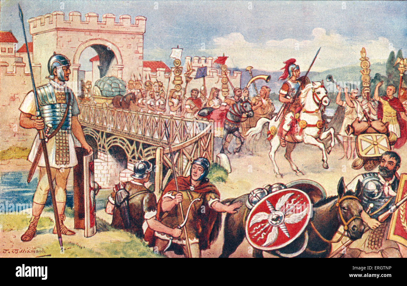The Roman Empire - a column of soldiers advancing over a bridge. Procession.  Helmet, spear, shield, horse, horses, - Stock Image