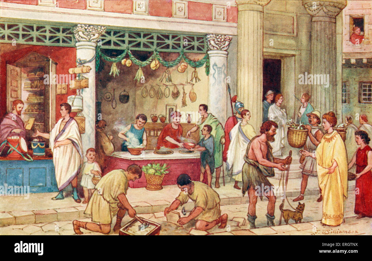 The Roman Empire - street scene with vendors. Romans, produce, food, crafts, market, book seller, merchant, merchants, - Stock Image