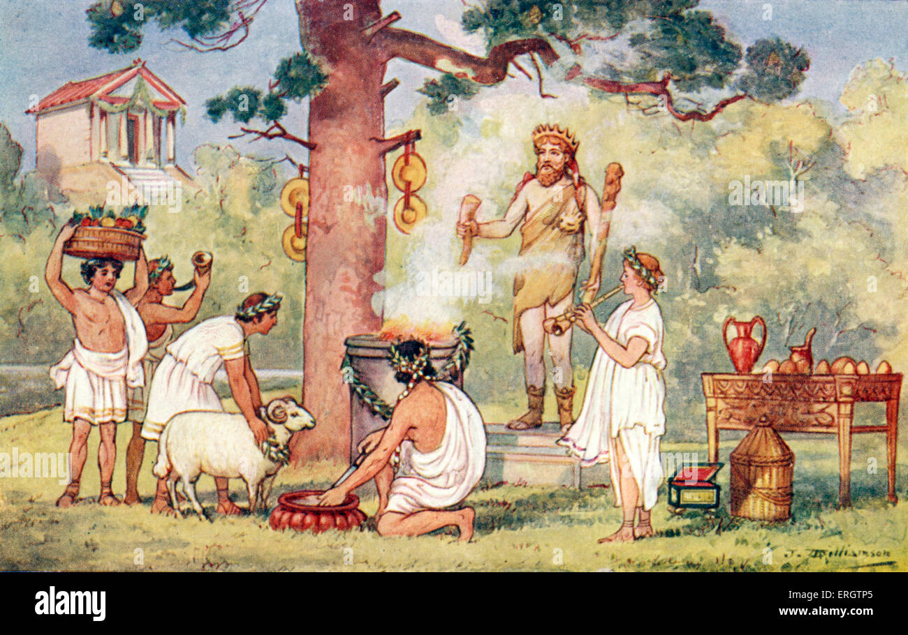 The Roman Empire - a sacrifice to the gods Romans, toga, togas, ram, rams, wreath, oracle, double aulos.  Illustration - Stock Image
