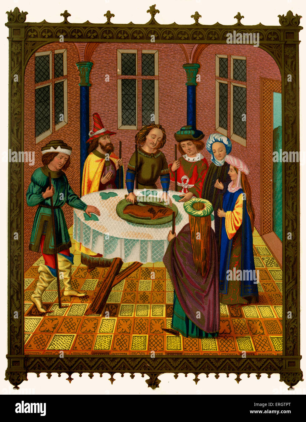 Passover (or Pesach or Pesah or Festival of Matzot) - medieval Jews celebrating the Jewish holiday, 15th century. - Stock Image