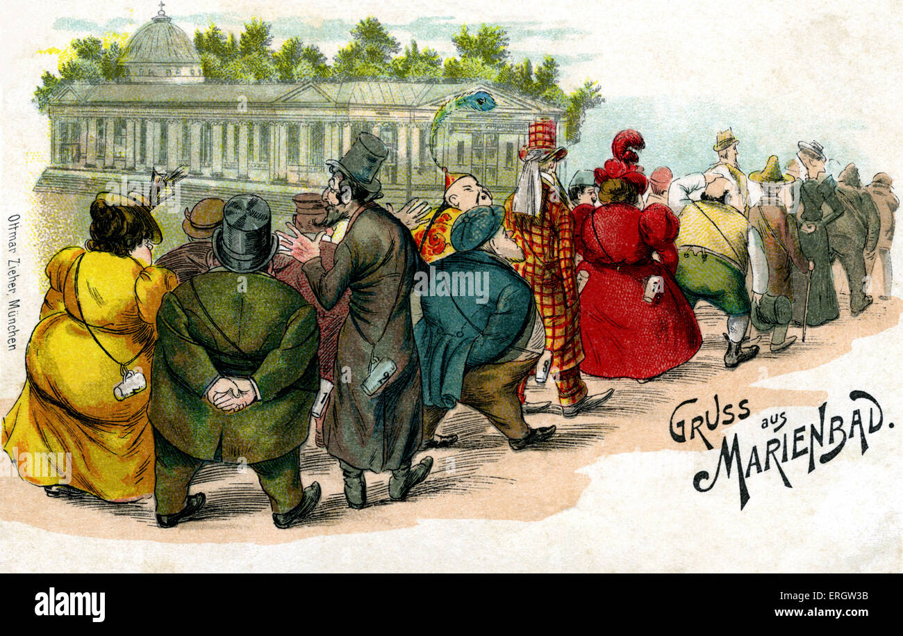 Marienbad Spa - greetings card. People queuing up to take the medicinal waters of the spa in the Czech Republic. - Stock Image