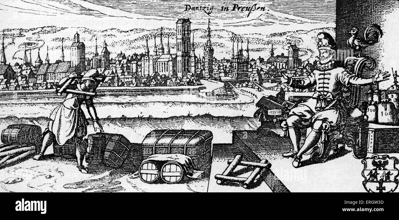Danzig / Gdańsk - view of the city, c. 1700. Caption reads: ' Danzig in Preussen' (Prussia, now Poland). - Stock Image