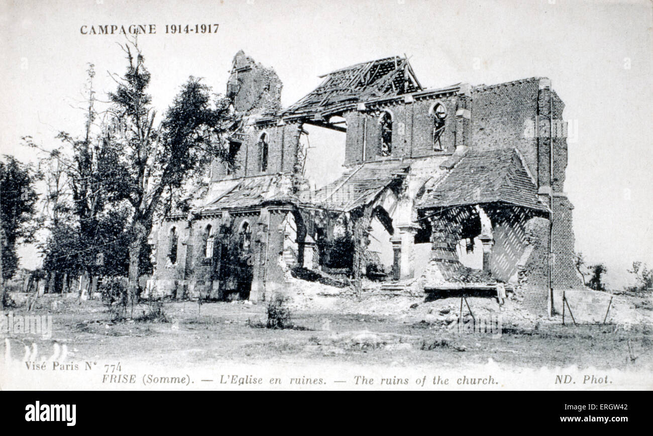 WORLD WAR I battle scene- ruins of the church at FRISE, on the SOMME - Stock Image