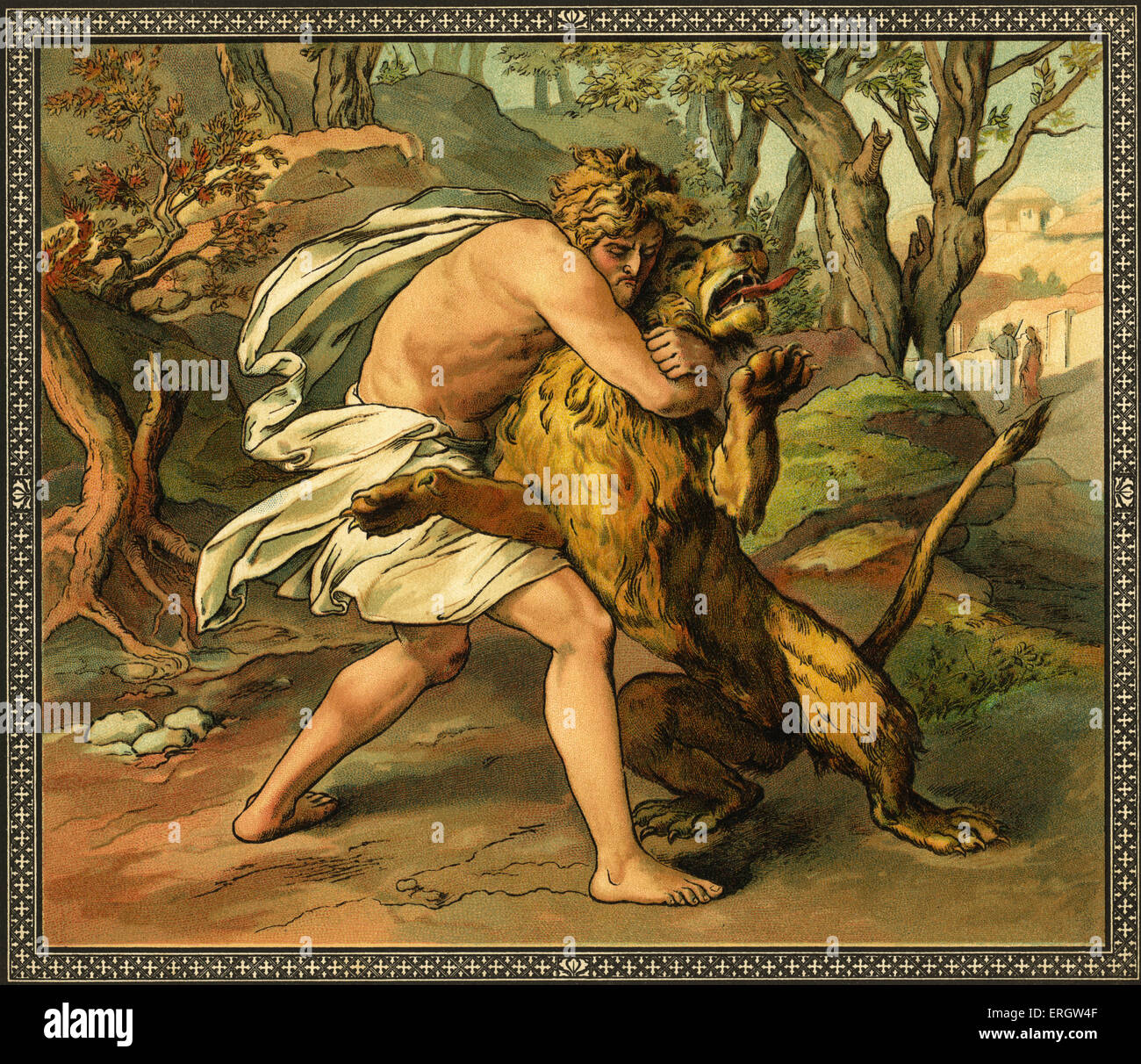Samson killing a young lion - in Gaza.  Ffrom Old Testament stories, published by Society for Promoting Christian - Stock Image