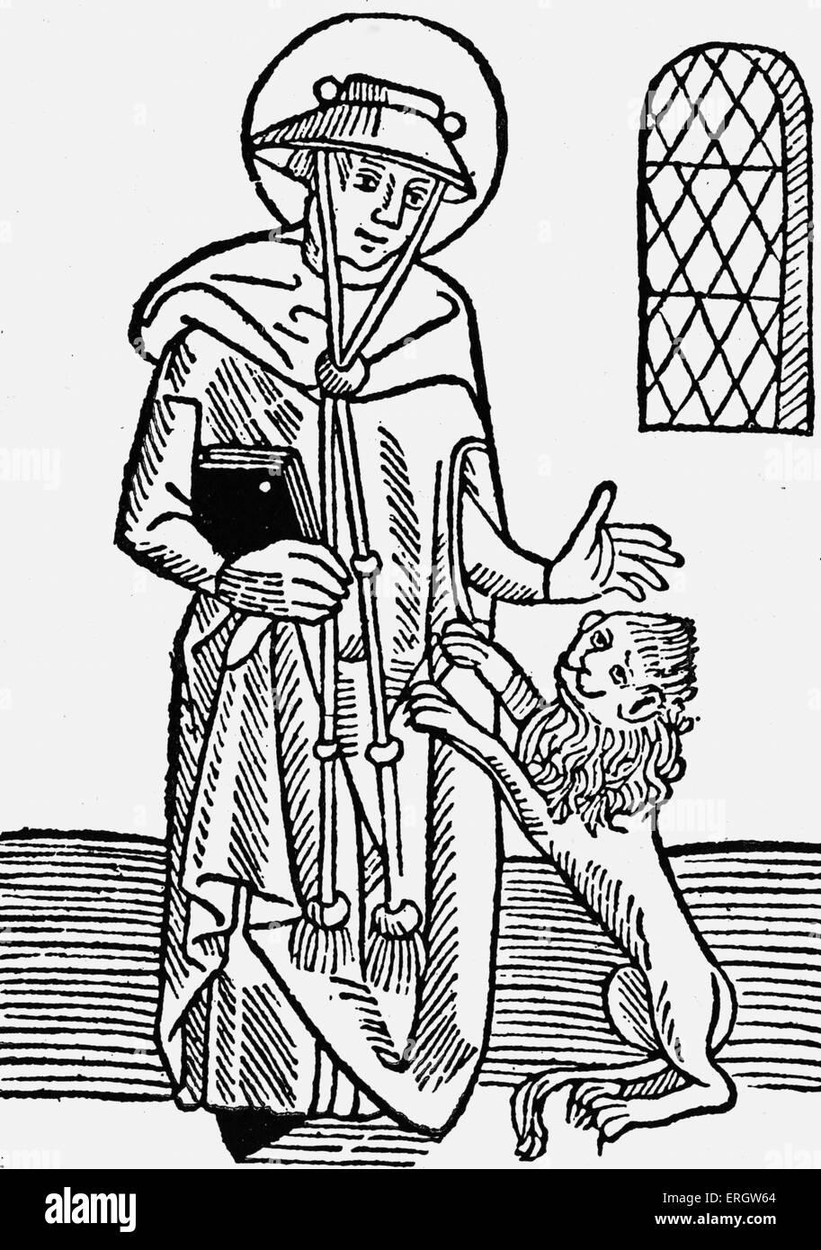'Golden Legend' collection of hagiographies (lives of saints) by Jacobus de Voragine, 1483.  Caption reads: - Stock Image