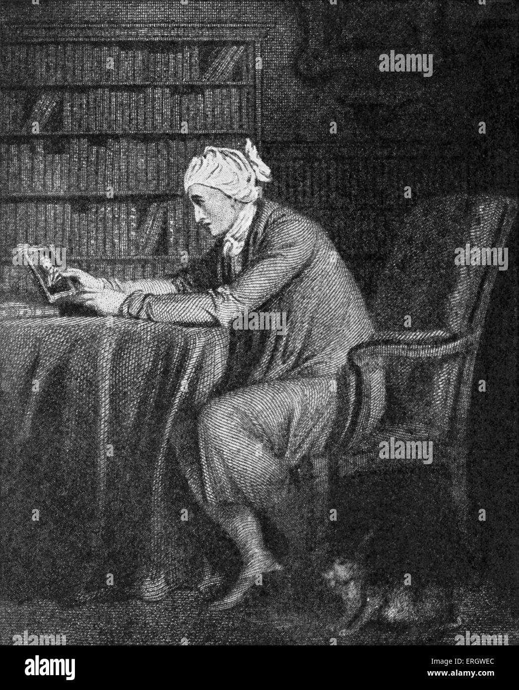 William Cowper in his study, with his favourite hare under the chair. WC: English poet and hymnodist, 26 November - Stock Image