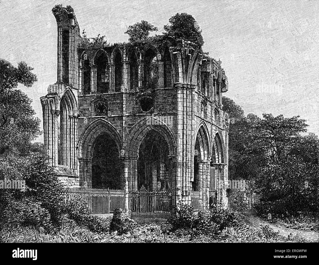 Ruins of Dryburgh Abbey; where Sir Walter Scott was buried beneath the chapel in the North Transept. WS:  Scottish - Stock Image