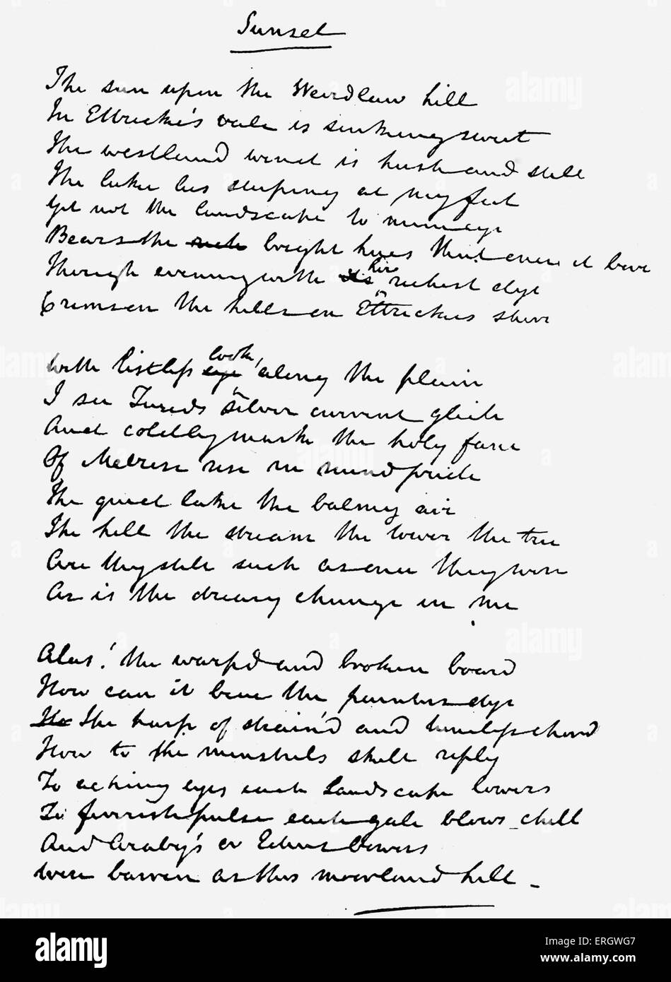 'Sunset' by Sir Walter Scott. Handwritten manuscript.  The poem begins: 'The sun upon the Weirdlaw hill, - Stock Image