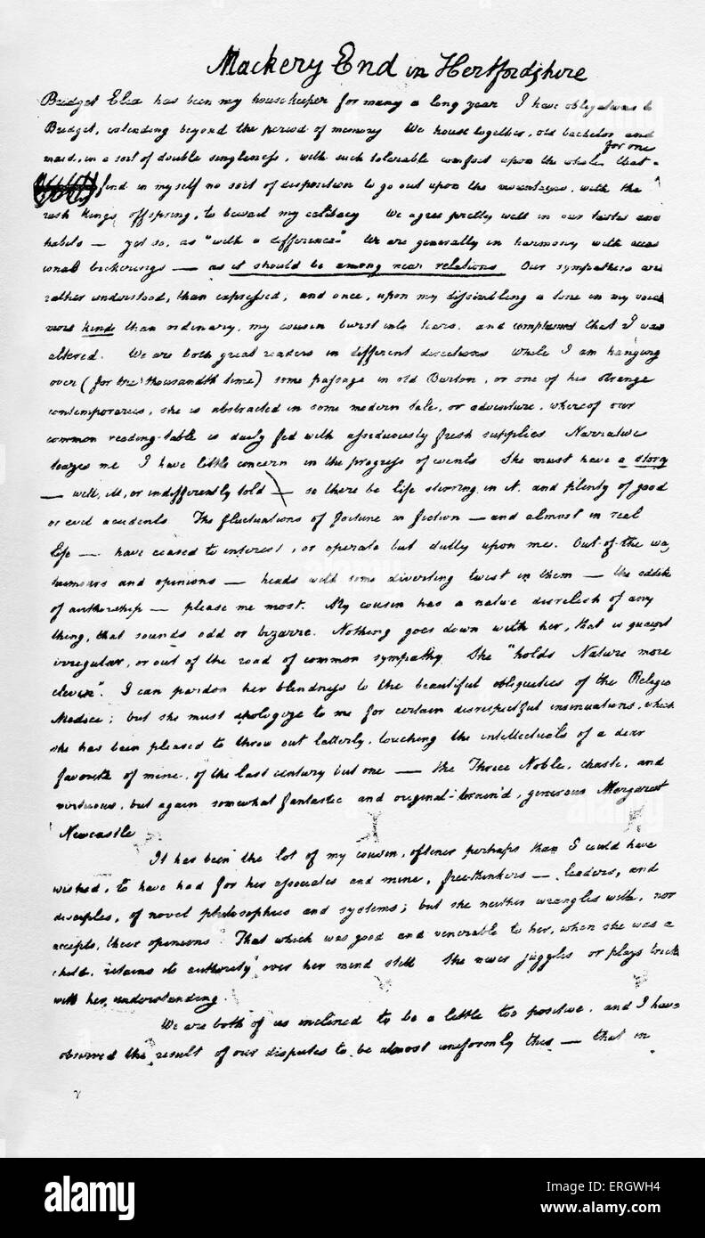 Essay On Mackery End In Hertfordshire By Charles Lamb Page Of The  Essay On Mackery End In Hertfordshire By Charles Lamb Page Of The  Handwritten Manuscript Cl English Writer February    December