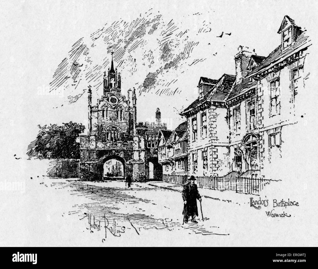 Walter Savage Landor's birthplace at Warwick. WSL: English writer and poet, 30 January 1775 – 17 September 1864. - Stock Image