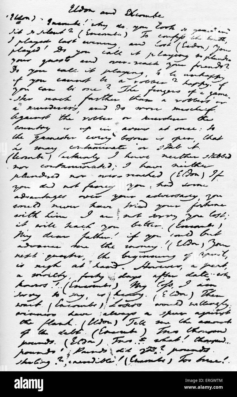 'Imaginary Conversations': A work of prose by Walter Savage Landor. Handwritten manuscript. WSL: English - Stock Image