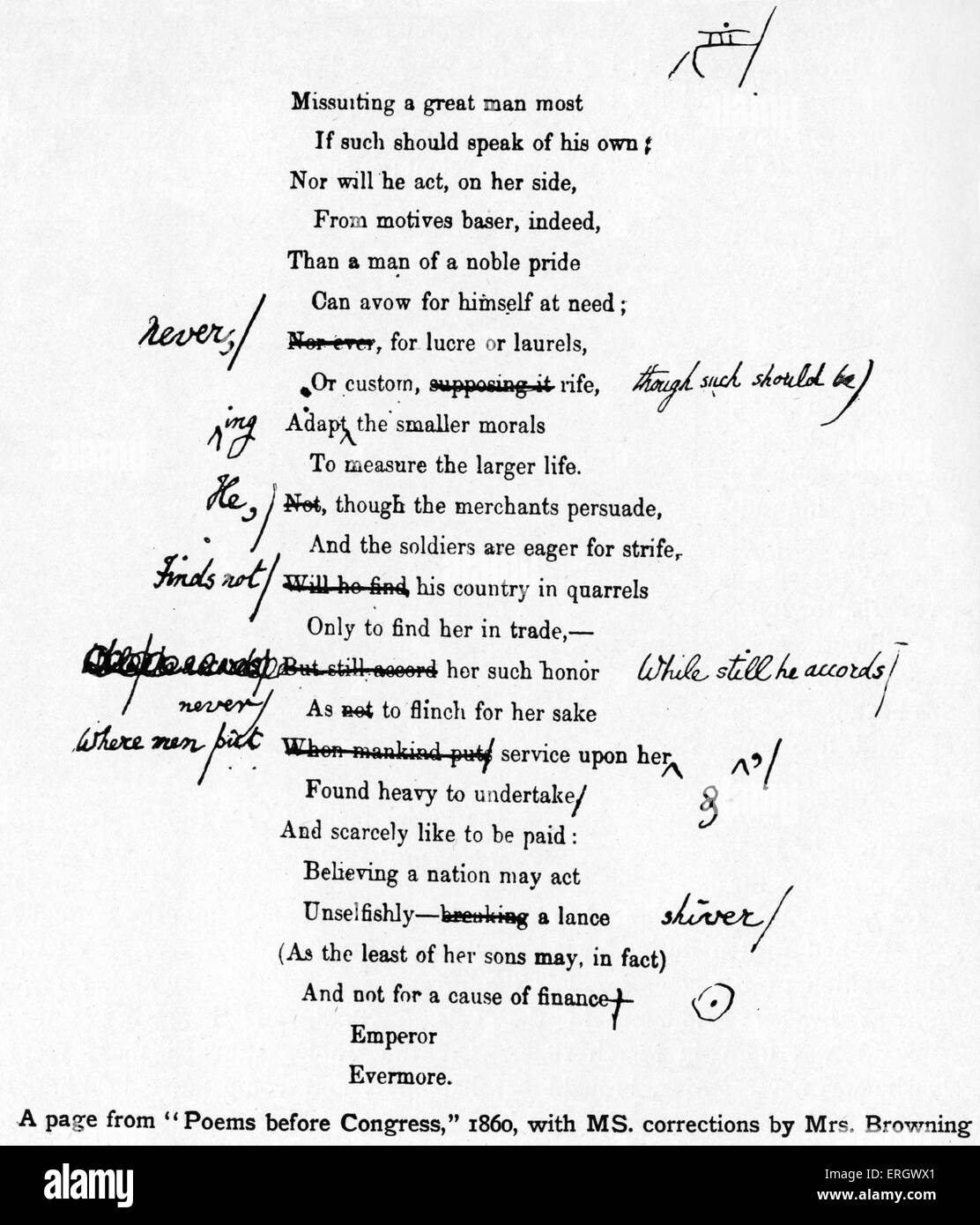 'Poems before Congress' by Elizabeth Barrett Browning. 1860. With her handwritten manuscript corrections. - Stock Image