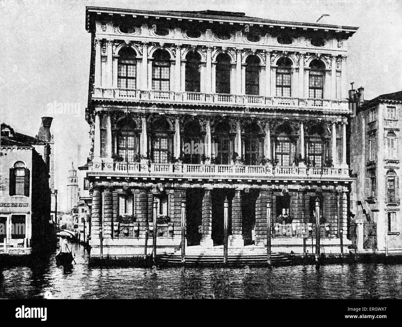 Palazzo Rezzonico- Venice. Robert Browning's place of death. He lived here with his son briefly from 1888–89. - Stock Image