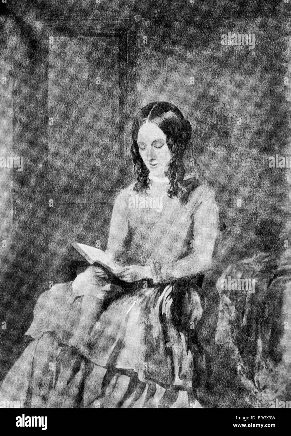 Charlotte Bronte: British novelist, 1816-1855. From a water colour by Paul Heger, 1850. Stock Photo