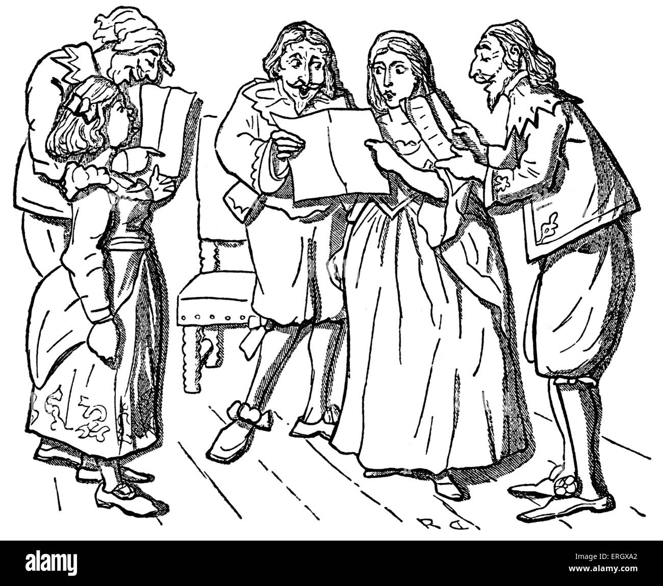 Carol singing in the olden times. - Stock Image