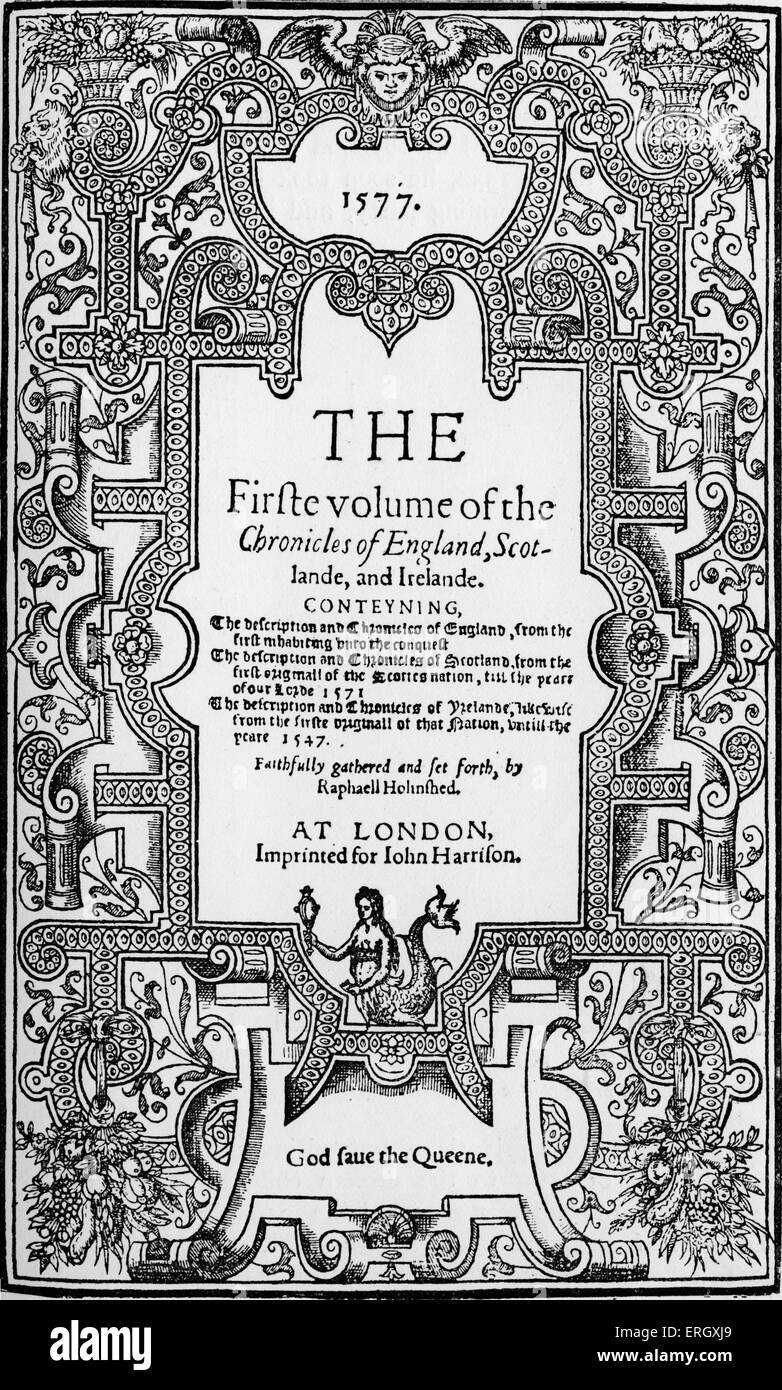 'Chronicles' by Raphael Holinshed.(The fifth volume)  Title page. 1577. RH: English chronicler, died 1580. - Stock Image