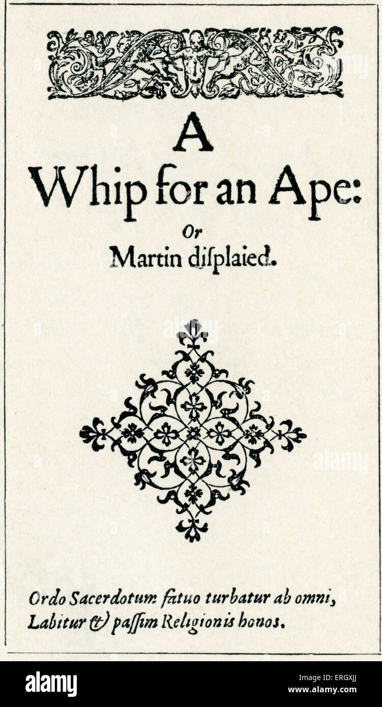 'Whip for an ape' by John Lyly. Title page. English writer, c 1553 or 1554 – November 1606. - Stock Image
