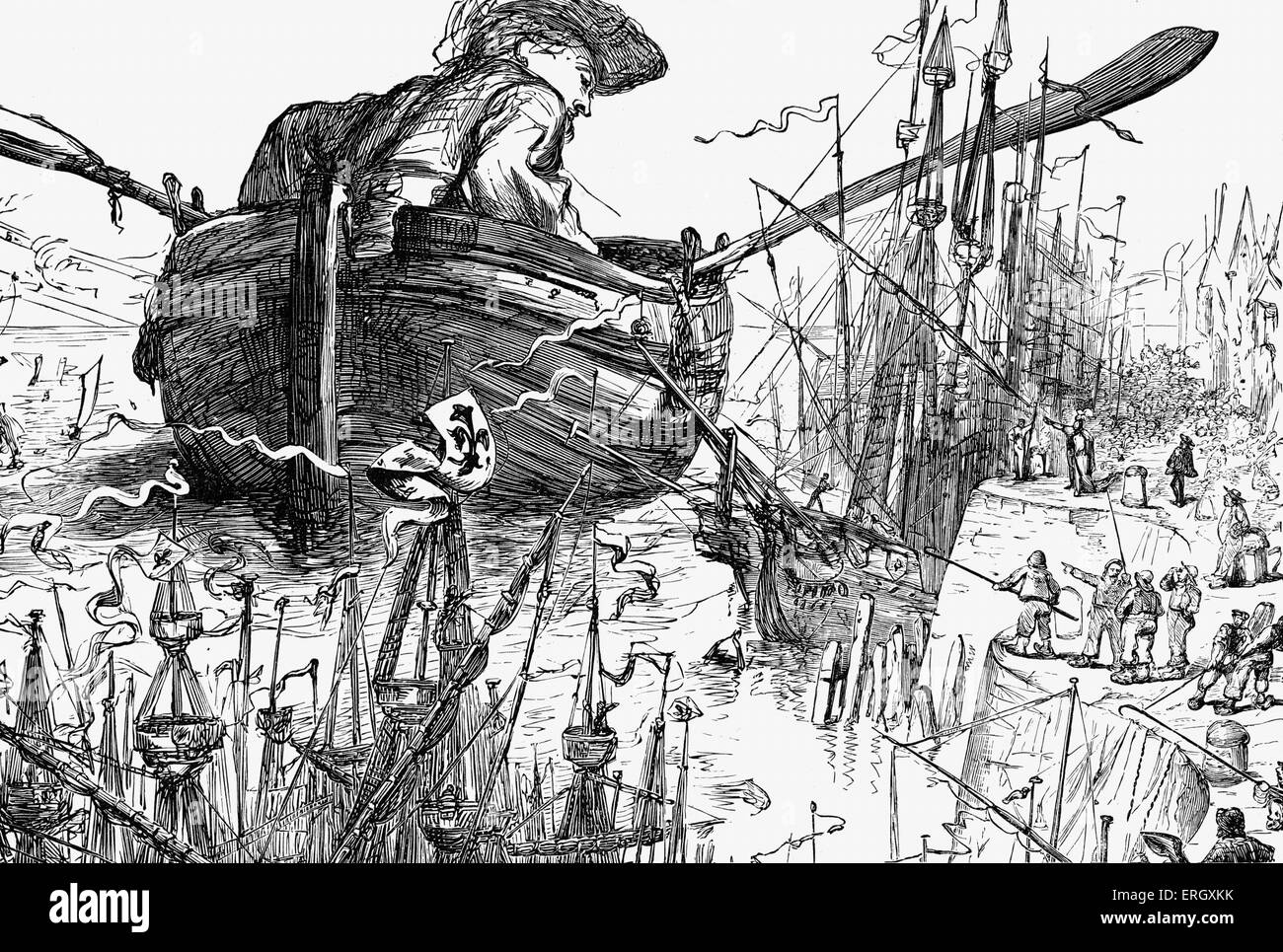 Gulliver's Travels - novel by Jonathan Swift. Part I: A Voyage To Lilliput. Last chapter. Gulliver rowing the - Stock Image