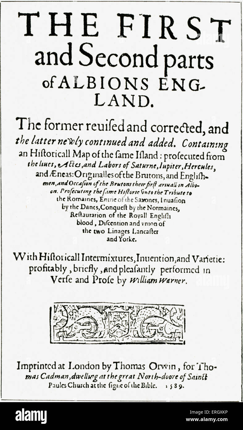 'Albion's England' by William Warner.  Title page. 1589. WW: English poet, 1558 - 9 March 1609. - Stock Image