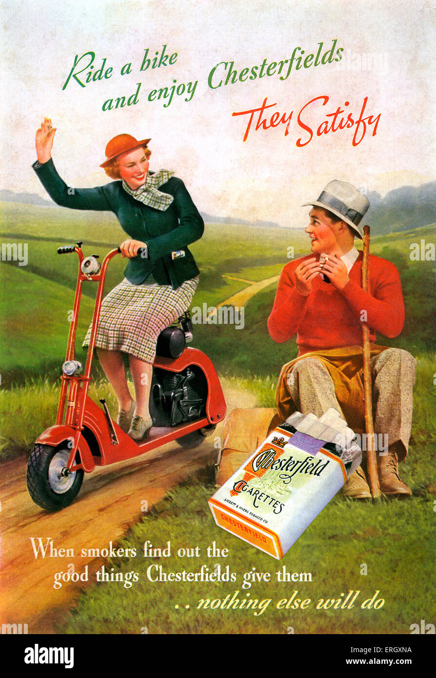 Chesterfield cigarettes' advertisement. Caption reads: 'Ride a bike and enjoy Chesterfields. They satisfy. - Stock Image