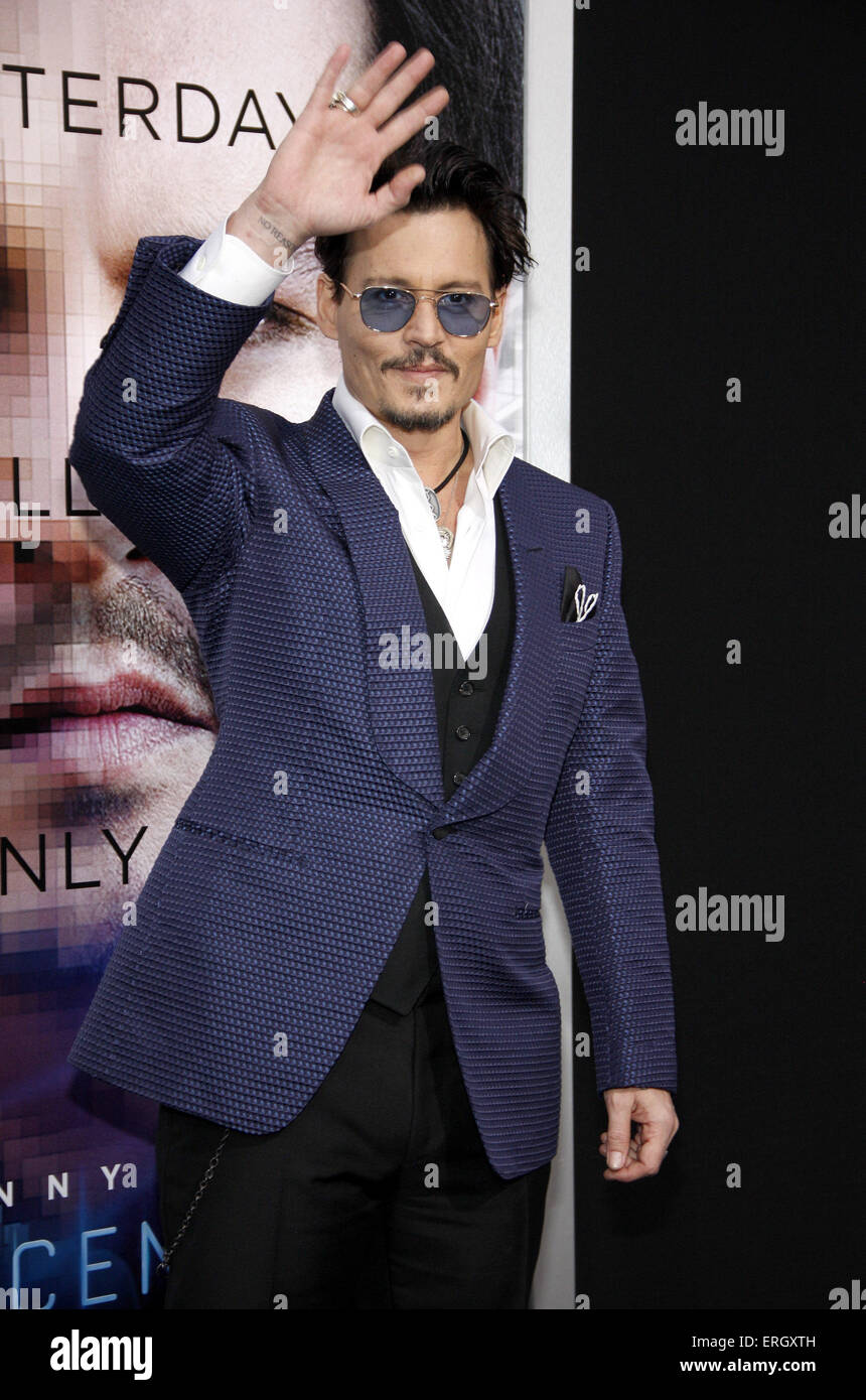 Johnny Depp at the Los Angeles premiere of 'Transcendence' held at the Regency Village Theatre in Westwood - Stock Image