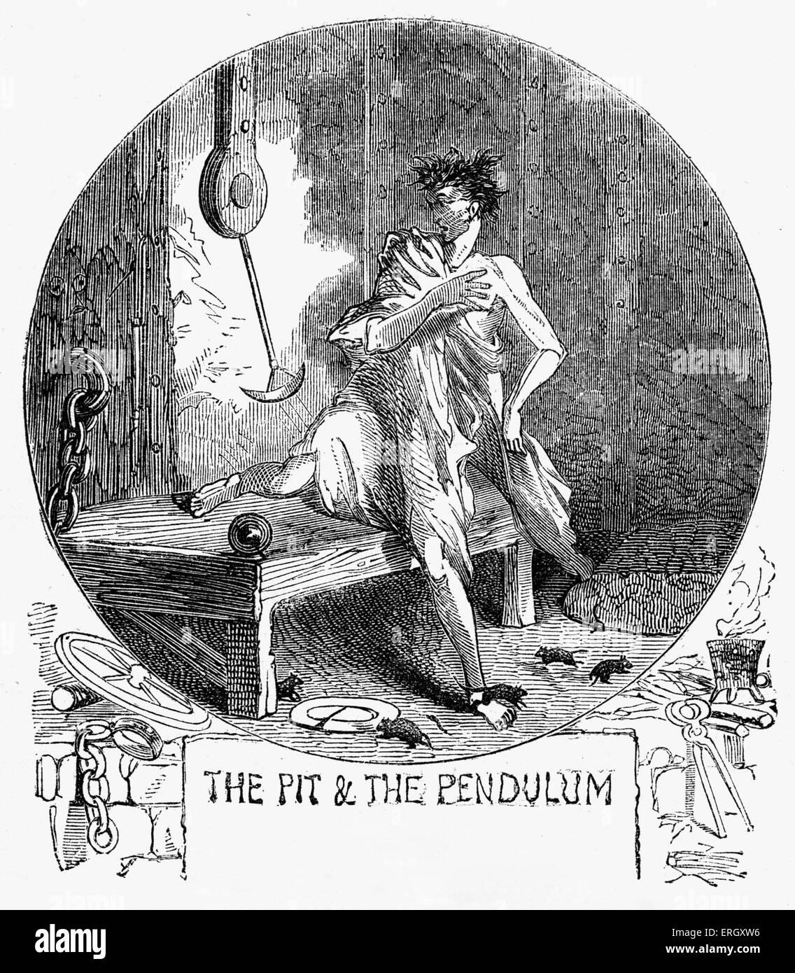 'The pit and the pendulum': Short story by Edgar Allan Poe. EAP: American author & poet, 19 January - Stock Image