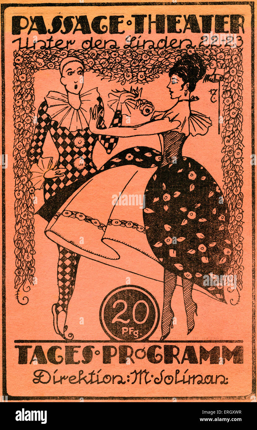 'Passage theatre'. 1920s  Berlin film programme.  Front Cover with harlequin. During Weimar period. 'Unter - Stock Image