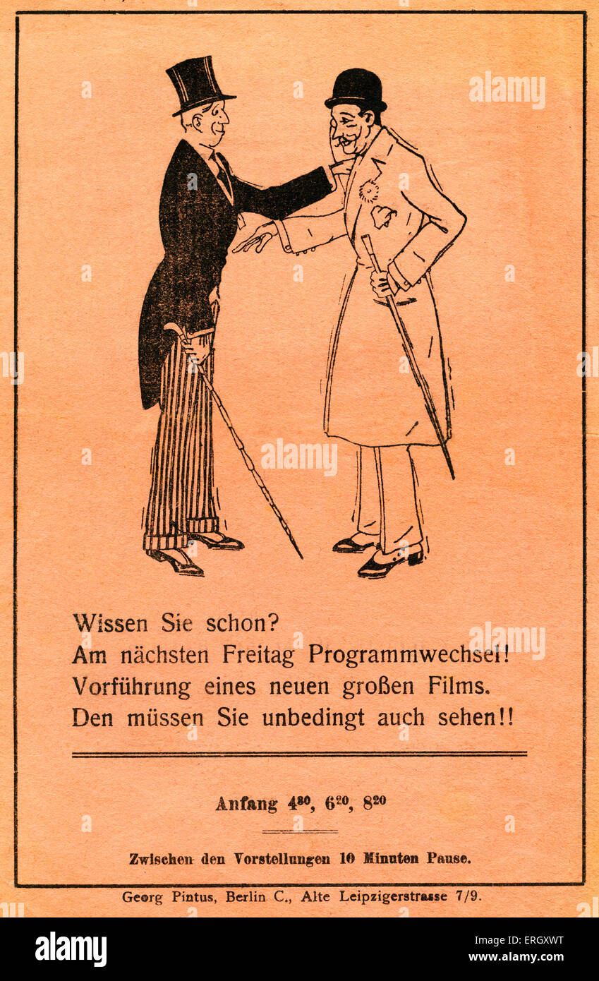 'Passage theatre'. Berlin film programme. Back cover. Caption reads: 'Have you already heard? Next Friday - Stock Image