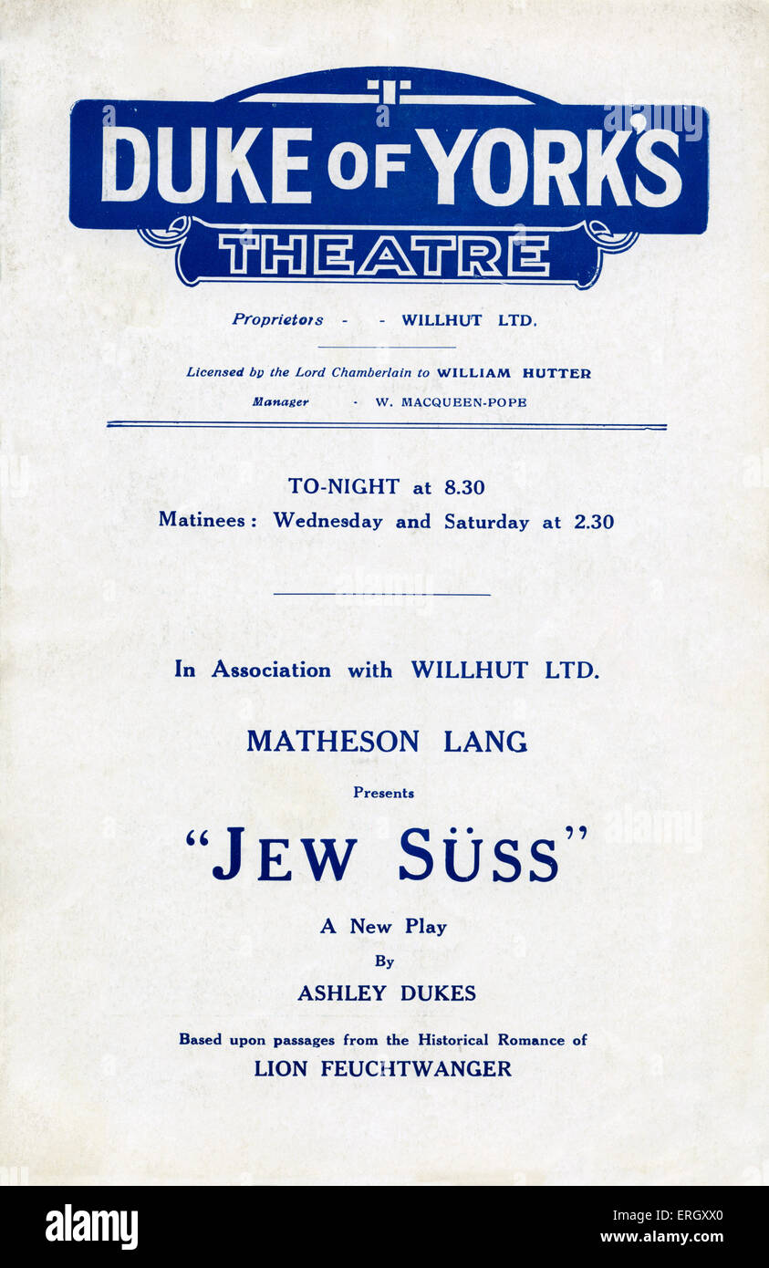 'Jew Suss' programme cover: Duke of York's theatre. New tragic comedy  by Ashley Dukes, based on the - Stock Image