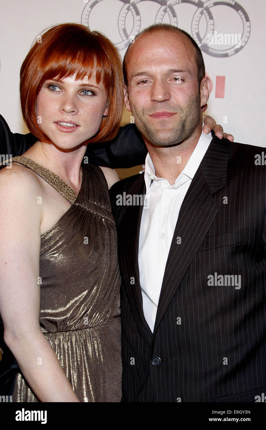 "Natalya Rudakova and Jason Statham at the World Premiere of ""Transporter 3"" held at the Planet Hollywood Casino Stock Photo"