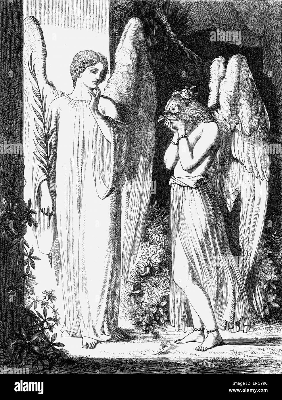 Paradise and the Peri - illustration from the book Lalla Rookh by Irish poet and writer Thomas Moore.  'One - Stock Image