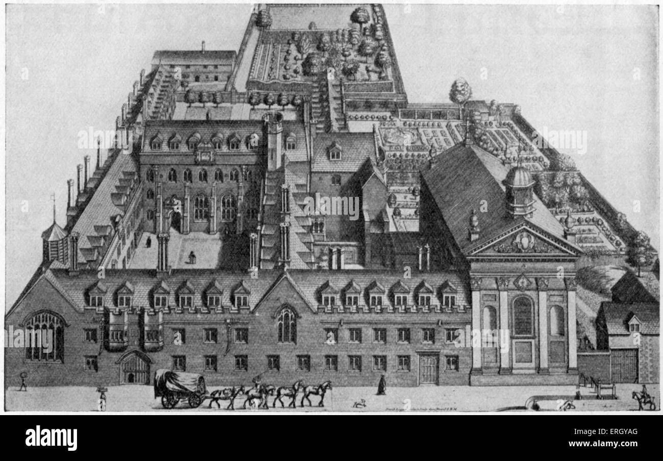 Pembroke college in the 17th century. Founded in 1347 by Marie de St Pol,  Countess of Pembroke. Cambridge University.