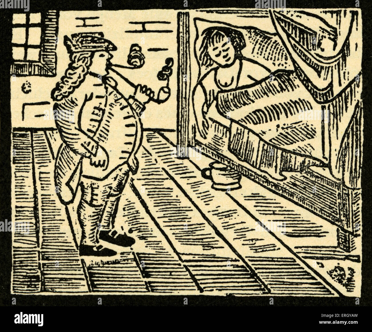 Die Eltern Jobsens / Jobsen's Parents - woodcut from Jobsiade by Carl Arnold Kortum. German physician, writer and Stock Photo