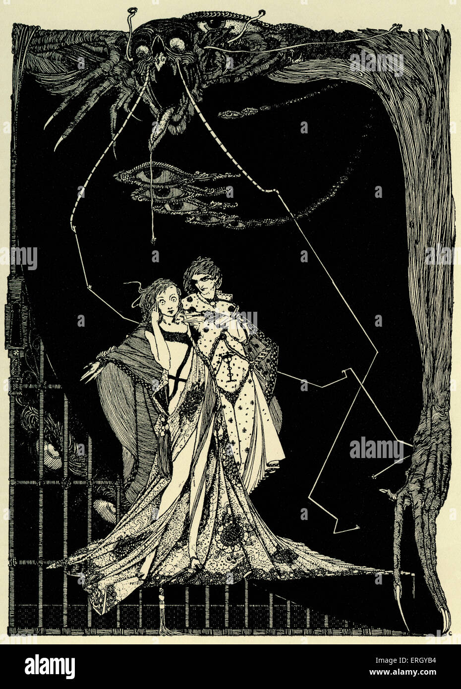 Faust by Johann Wolfgang von Goethe. Illustration by Harry Clarke. Caption reads: 'Does not Death lurk without?' - Stock Image