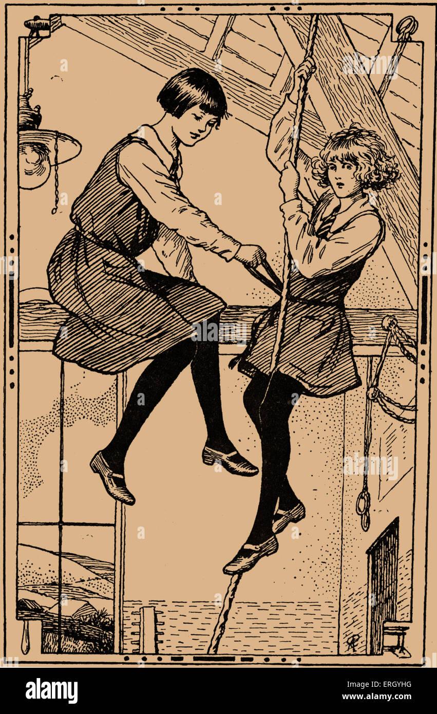 The Scholarship Girl by Josephine Elder (Olive Gwendoline Potter). Caption reads: 'Francisco was sliding monkey - Stock Image