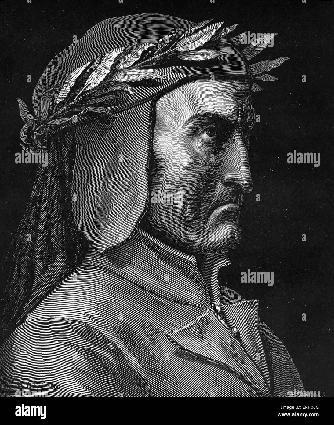 Dante Alighieri, profile portrait with laurel wreath.  Italian poet, 1265-1321. - Stock Image
