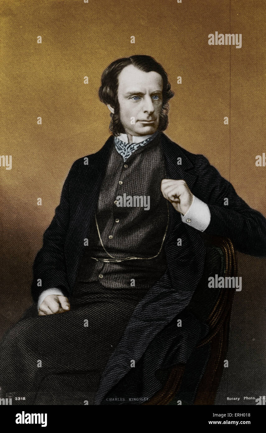 KINGSLEY, Charles - portrait. English writer and clergyman. Wrote 'The Water-Babies', 1863.  (1819-75) - Stock Image