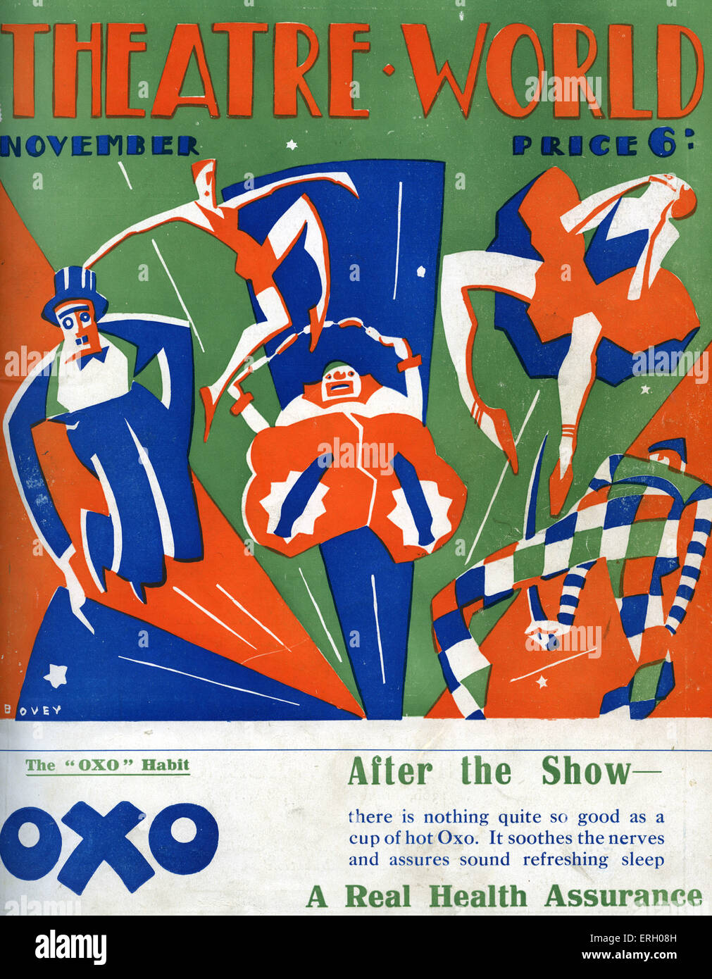 Theatre World cover November 1926. Graphics by Bovey. Circus performers, clowns, trapeze artist, harlequin, tightrope - Stock Image