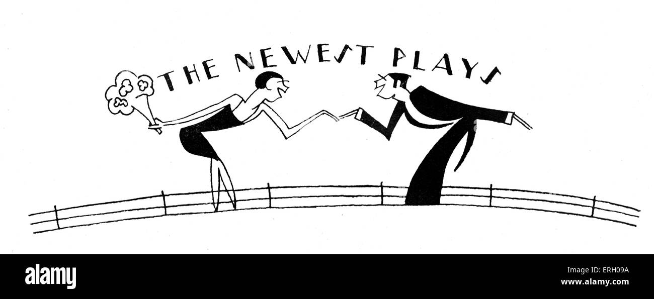 The newest plays - couple talking to each other in twenties evening dress about what is new at the theatre. - Stock Image