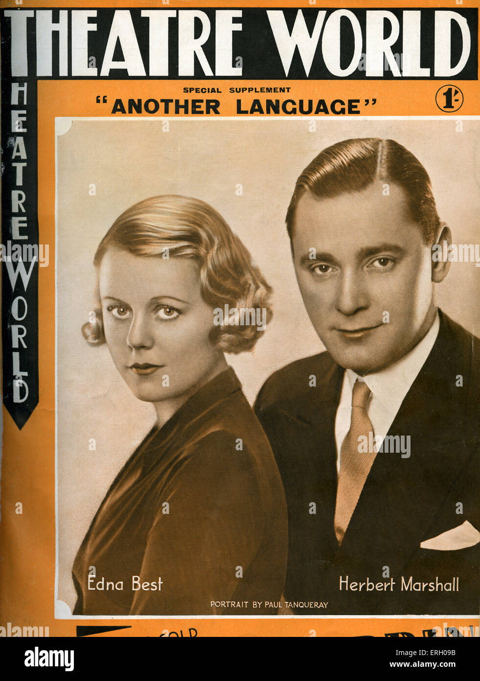 Edna Best and Herbert Marshall on the cover of Theatre World, January 1933. Special supplement for  'Another - Stock Image