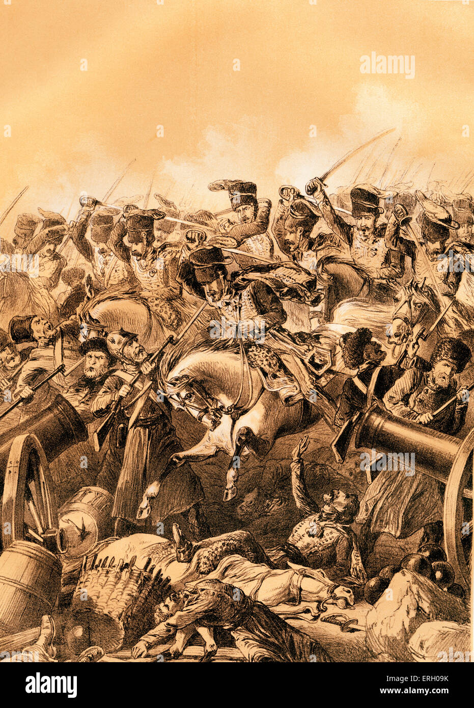 The charge of the light brigade at Balaclava led by Lord Cardigan during the Battle of Balaclava on 25 October 1854 Stock Photo