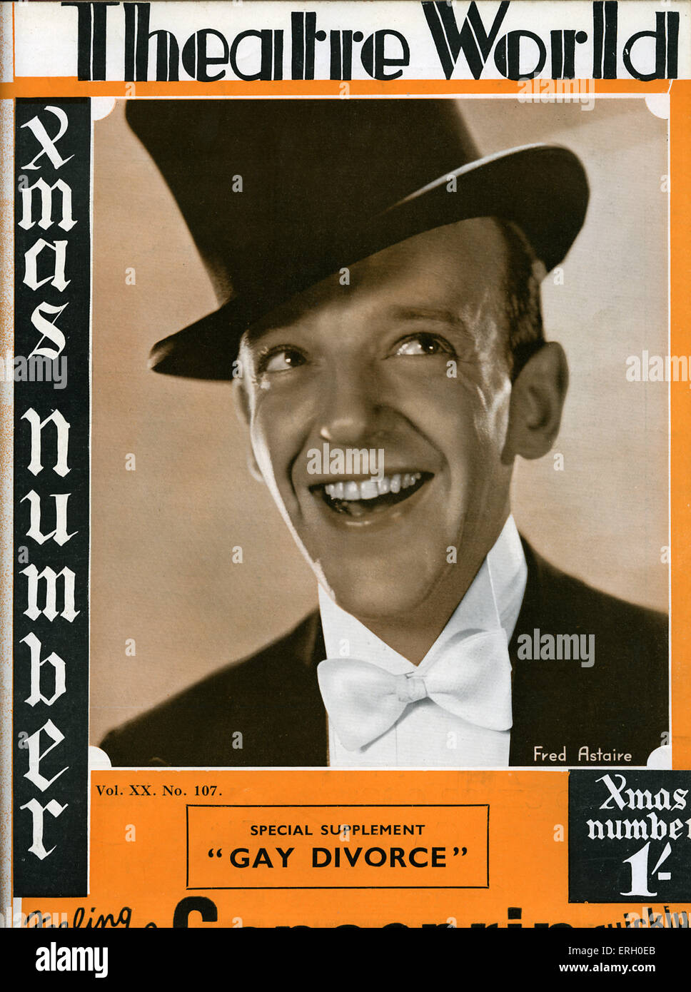 Fred Astaire on the cover of Theatre World, October 1933.  Special supplemt for 'Gay Divorce' by Lee Ephraim - Stock Image